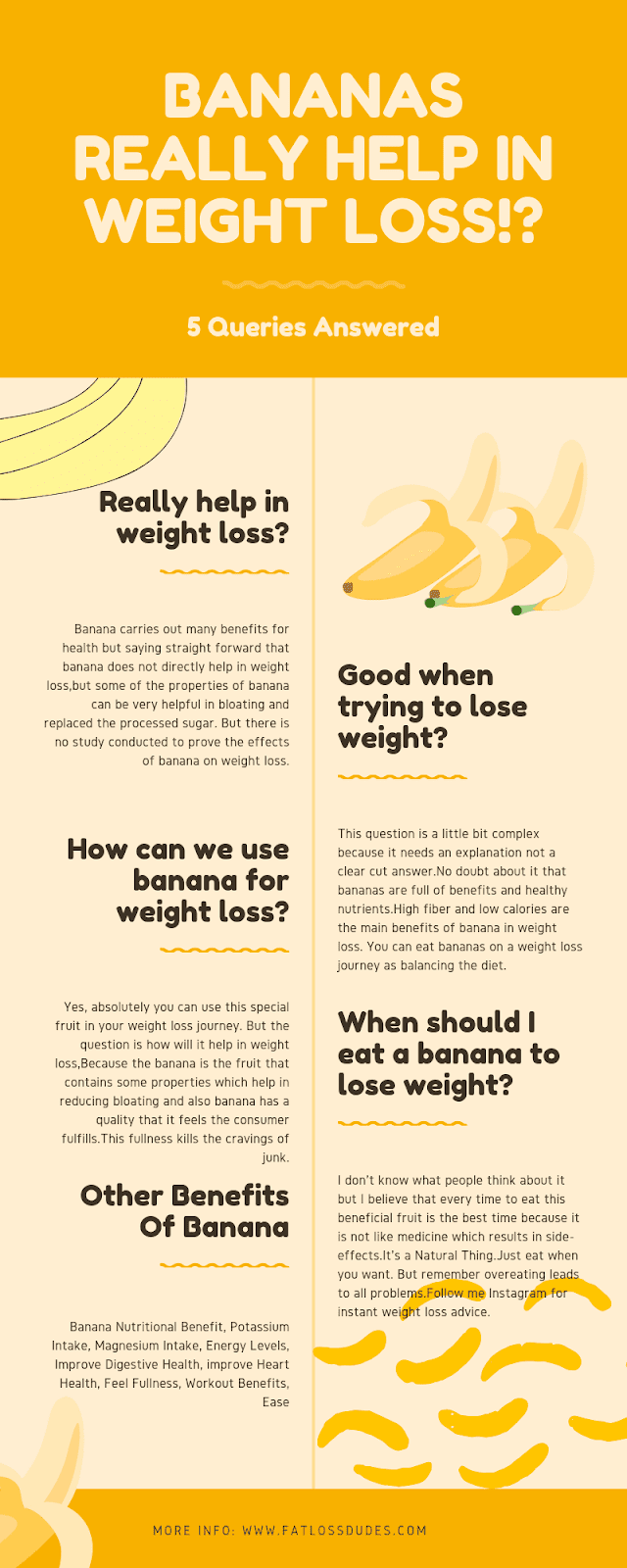 Bananas Benefits For Weight Loss - Infographics