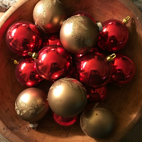 red gold Christmas balls antique dough bowl
