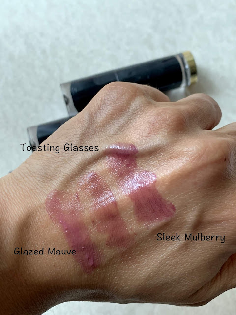 Revlon Super Lustrous Melting Glass Lipsticks Sleek Mulberry, Glazed Mauve, Toasting Glasses Review, photos, Swatches