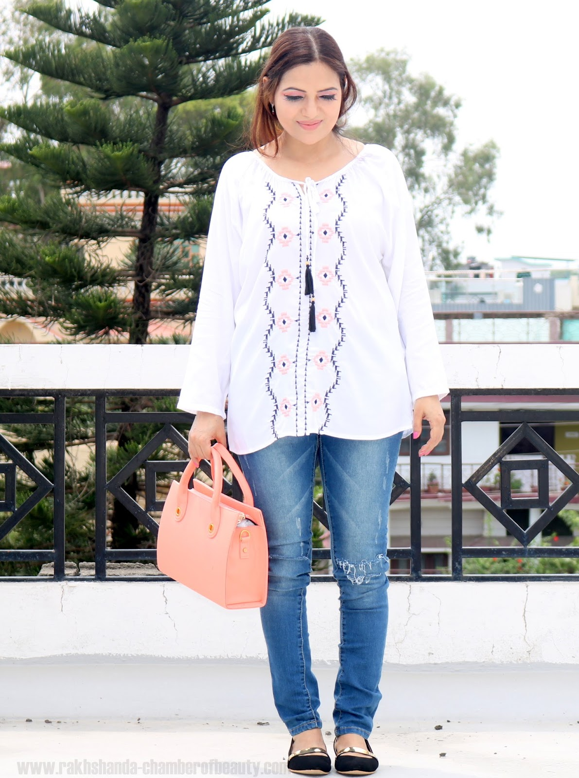 Summer fashion trends 2016, Embroidered Peasant blouse, Indian fashion blogger, Chamber of Beauty