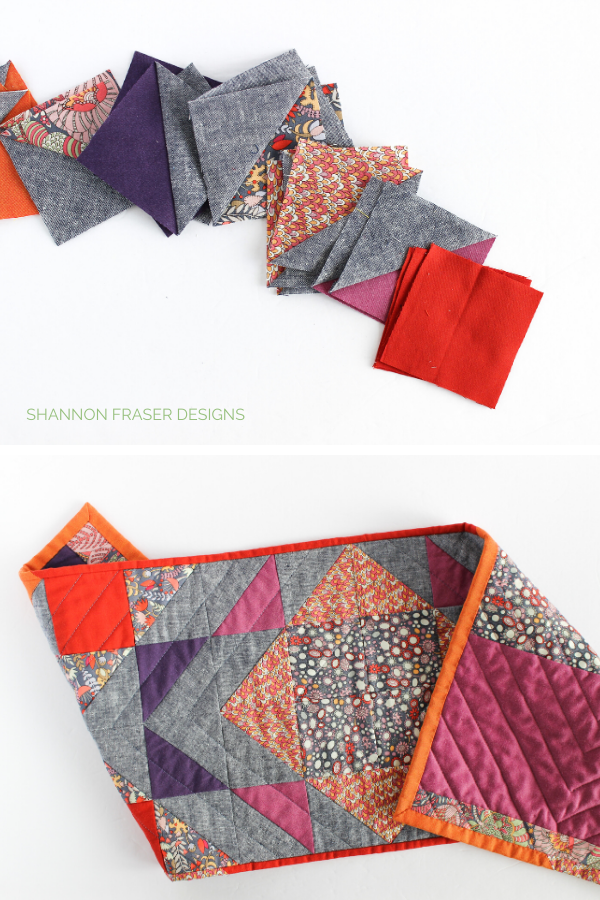 Half square triangles featured in the Fantasy Modern Aztec Quilted Table Runner | Shannon Fraser Designs #tablerunner #hst #halfsquaretriangles #modernquilts #quilts