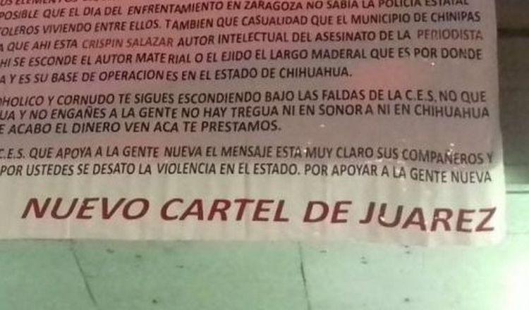 """""""Nuevo Cartel de Juárez"""" dejan narcomantas amenazando a mandos de la CES en Chihuahua."""