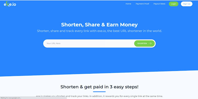 EXE.IO Shorten, Share & Earn Money, best URL shortener in the world