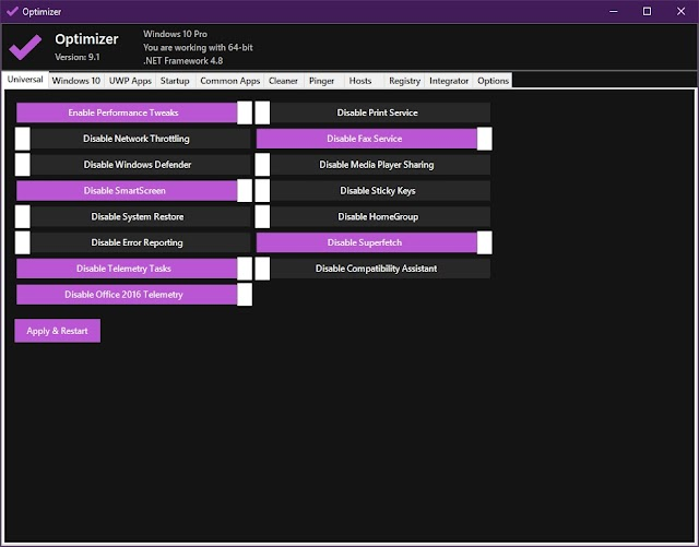Optimizer 9.1 - Excelente programa para poder optimizar y corregir varios parámetros en Windows 10