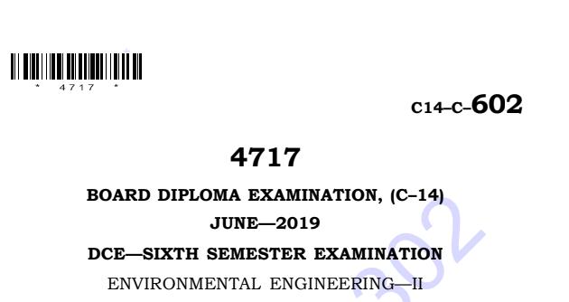 Diploma Environmental Engineering-2 old Question Paper c14 Civil June-2019