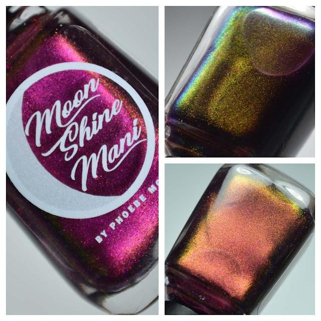 purple multichrome nail polish in a bottle