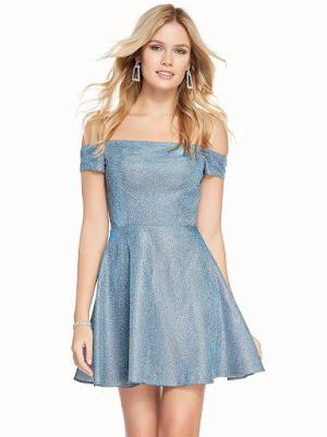 off the soulder alyce paris short prom dress santorini Blue color