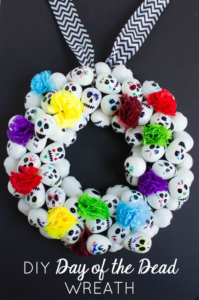 Make a Day of the Dead (Dia de los Muertos) wreath with plastic skull eggs!