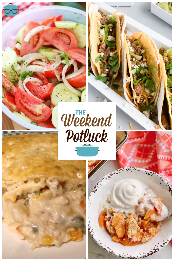 A virtual recipe swap with Marinated Tomato Cucumber Salad, Double Decker Tacos, Kid's Favorite Chicken Pot Pie, Old-Fashioned Peach Cobbler and dozens more!