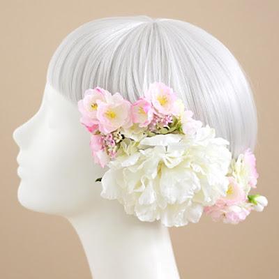桜と芍薬の髪飾り-ウェディングブーケと花髪飾りairaka