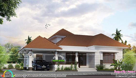 3 bedroom single floor home design plan