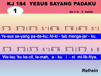Lirik dan Not Kidung Jemaat 184 Yesus Sayang Padaku