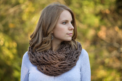Mocha Infinity Scarf, Heather Brown Chunky Cowl, Womens Knitted Accessories