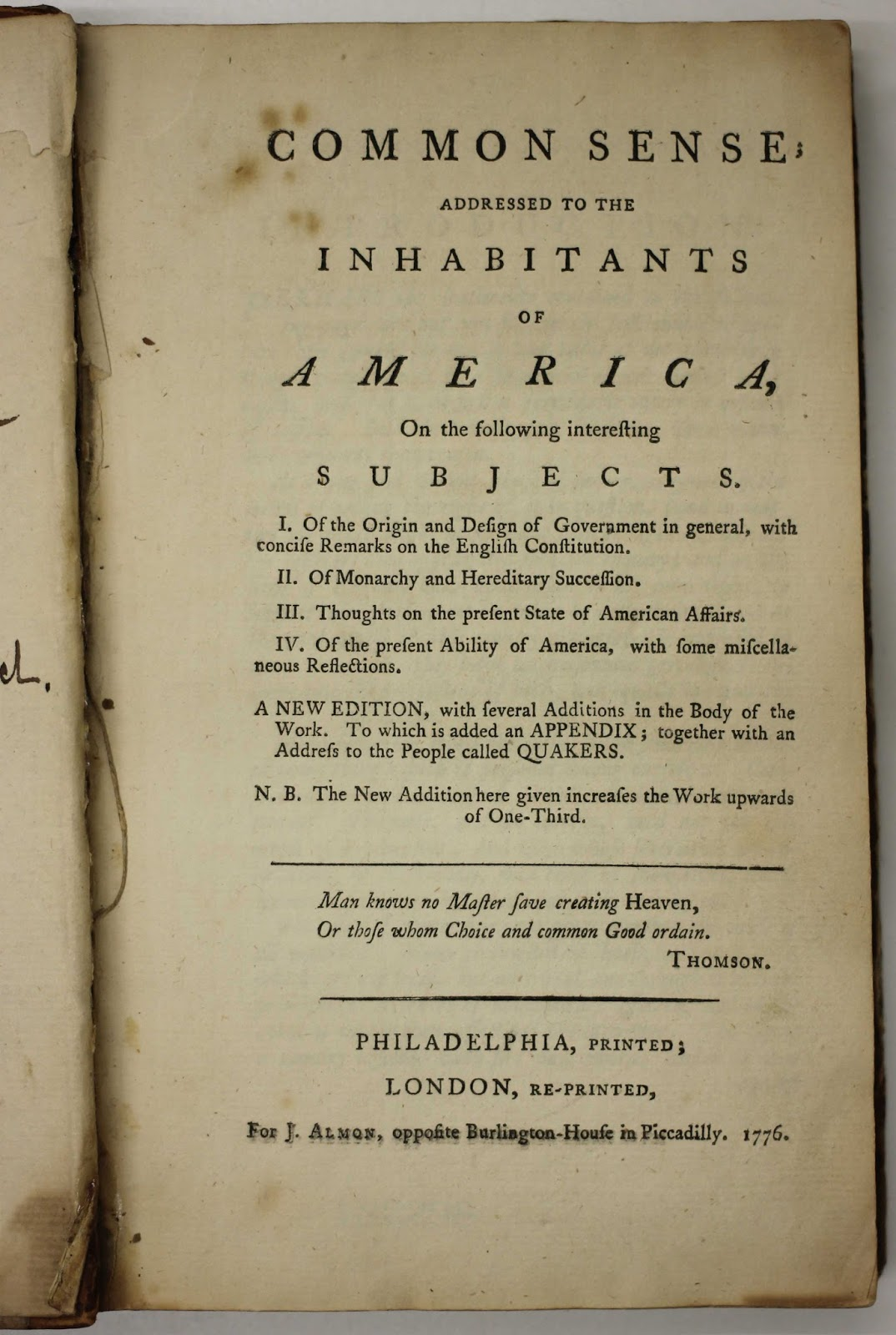 Brandeis Special Collections Spotlight Thomas Paine's