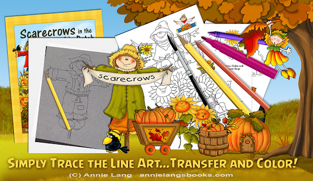 Trace, transfer and paint Annie Lang's Scarecrows in the Pumpkin Patch Line Art Coloring Patterns now!