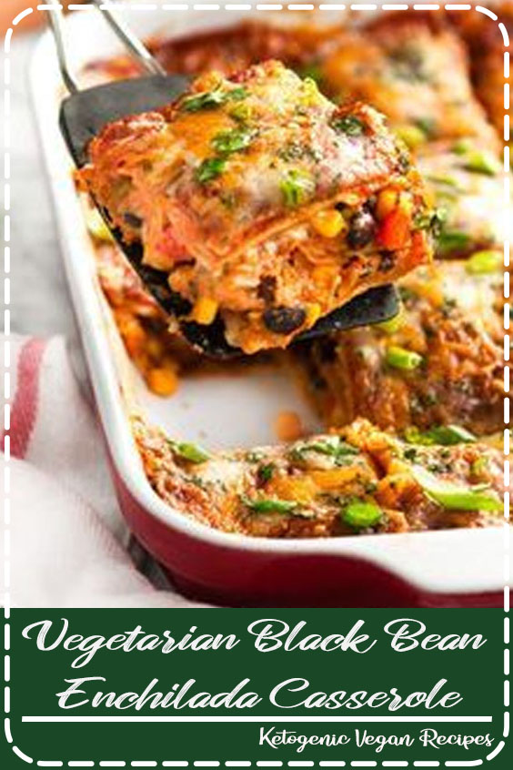 Vegetarian Black Bean Enchilada Casserole Recipe - Simple ingredients with brilliant flavor and a little heat make this vegetarian dish a must.