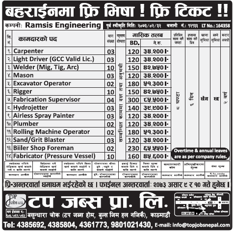 Free Visa, Free Ticket, Jobs For Nepali In Bahrain, Salary -Rs.85,000/