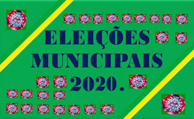 A imagem nas cores do Brasil diz: Eleições Municipais de 2020. A eleição da covid-19 e cada imagem do vírus representa os 27 Estados da Federação contaminado  e seus  mortos pela pandemia.