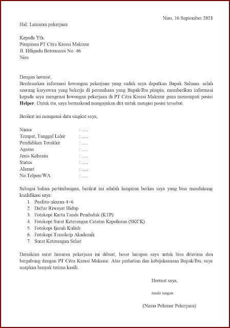 Contoh Application Letter Untuk Helper (Fresh Graduate) Berdasarkan Informasi Dari Seseorang