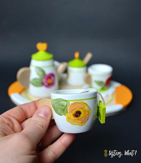 kid safe wood tea set