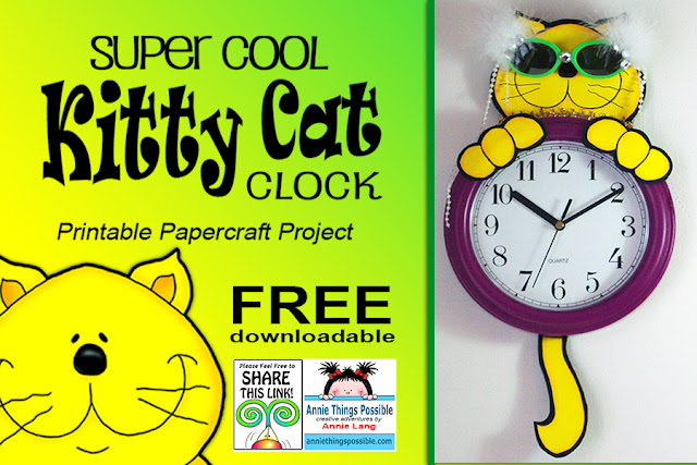 Download Annie Lang's FREE super cool Kitty Cat Clock full size color printable craft project from the Annie Things Possible DIY page