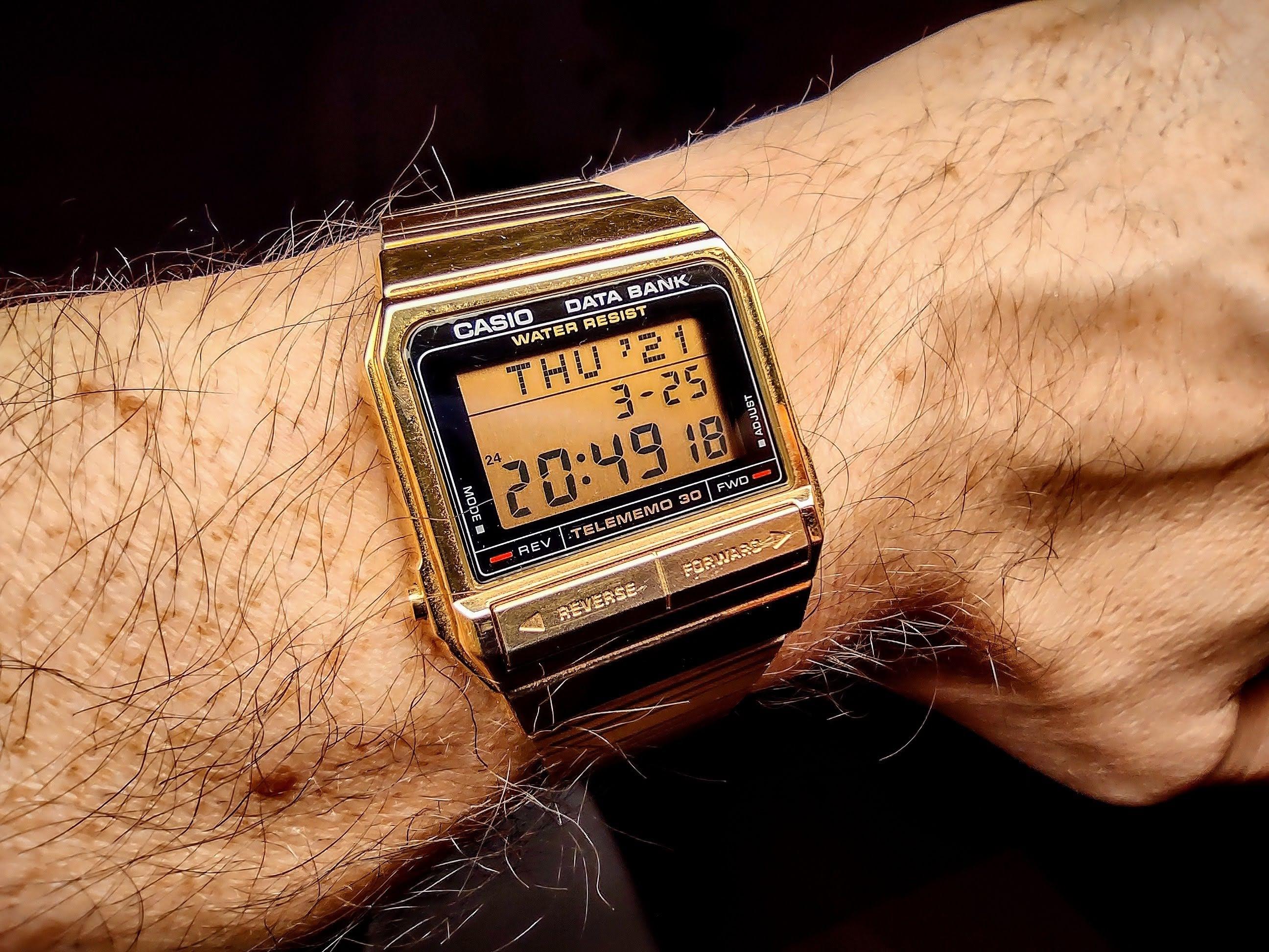 Gold Casio Data Bank Watch 1985 Japan