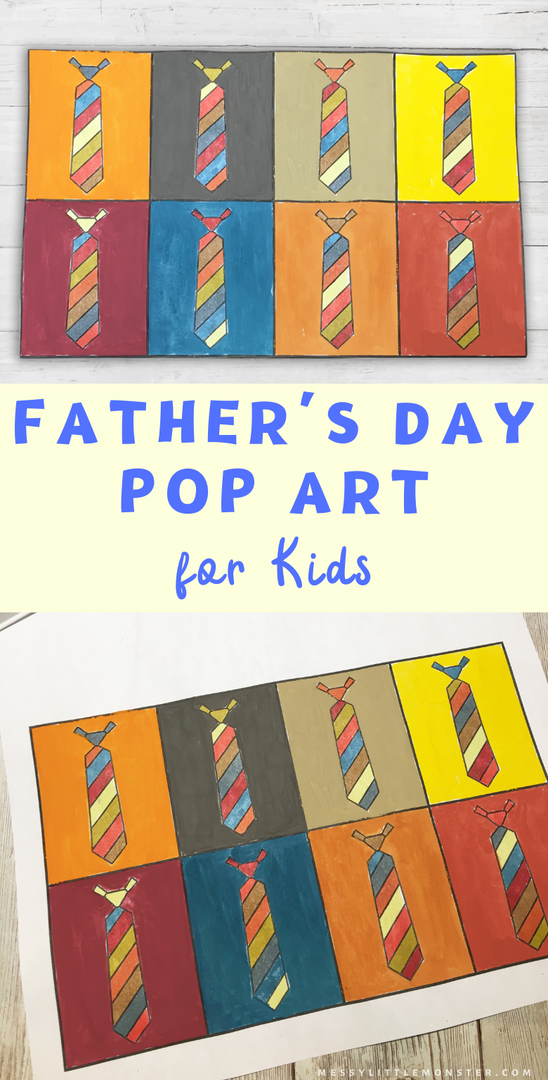 Fathers Day art for kids. Pop art for kids. Tie pop art project with printable tie template. Andy warhol art for kids.