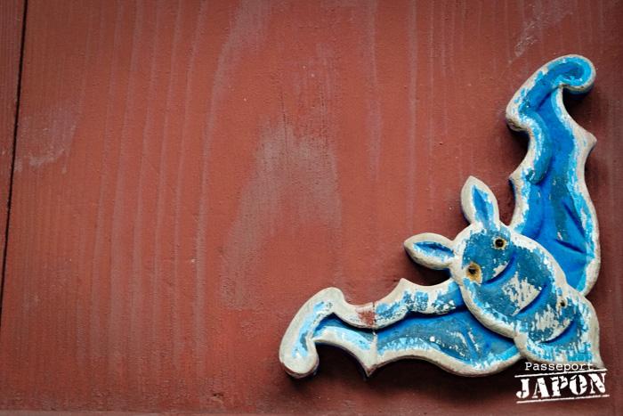 Chauve-souris bleue, détail de décor, temple Sôfuku-ji, Nagasaki