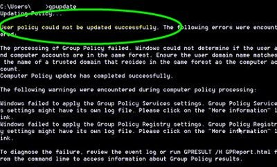 "Fix the error: ""Computer policy could not be updated successfully, The processing of Group Policy failed"""