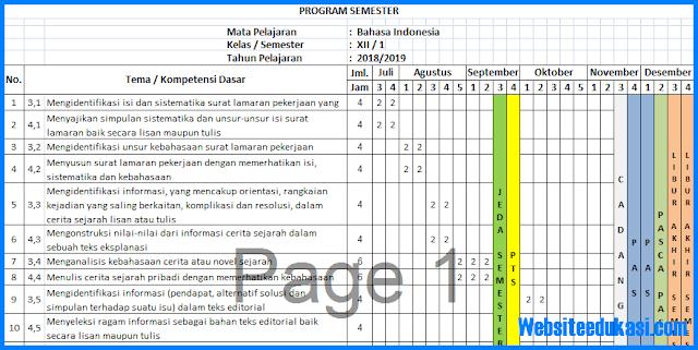 Prota, Promes Bahasa Indonesia Kelas 12 K13 Revisi 2018