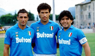 The fabled MaGiCa forward line - Diego Maradona (right), Bruno Giordano (left) and Careca (centre)