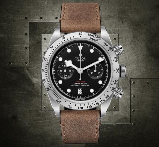 Top AAA Replica Tudor Heritage Black Bay Chrono Calfskin Strap Watch ... cce31e42b9
