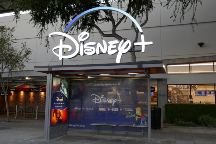 Disney+ logo bus shelter