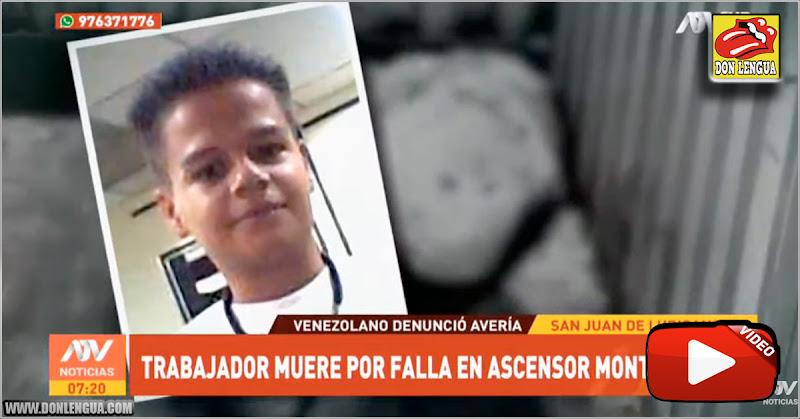 Venezolano murió aplastado por un ascensor mientras trabajaba en un local de Perú