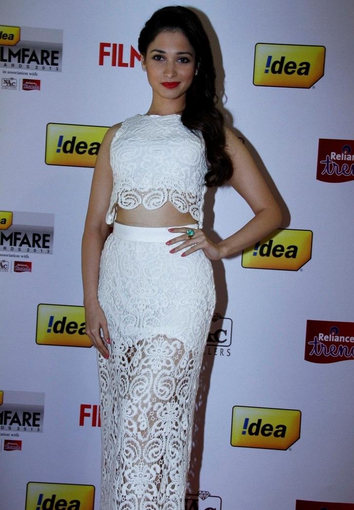 Glamours Tamannaah Photo shoot In Long White Dress At Flimflare South Award