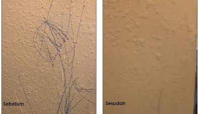 Gambar noda di dinding bersih dengan menggunakan mayones