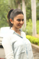 Rakul Preet Singh in Jeans and White Shirt At Jaya Janaki Nayaka le Logo Launch ~  Exclusive 064.JPG