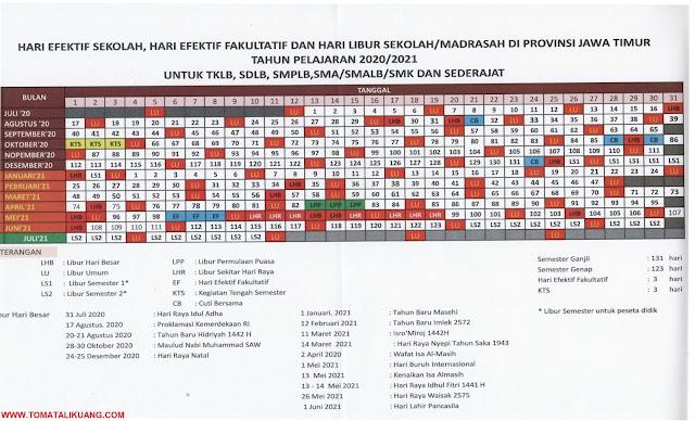 kalender pendidikan 2020/2021 jawa timur; tomatalikuang.com