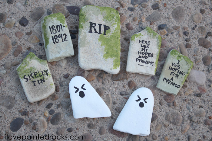 Ghost and tombstone painted rocks