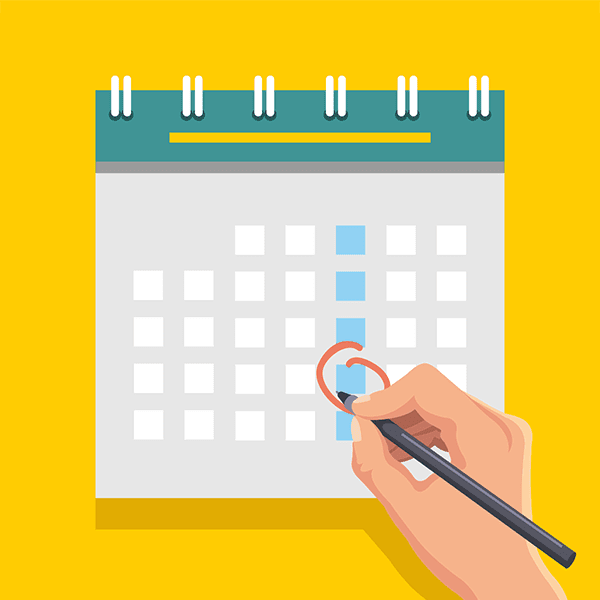 illustration of a website editor using a website content calendar