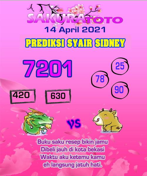 Syair Sakuratoto Sidney Rabu 14 April 2021