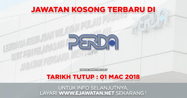 jawatan kosong Lembaga Kemajuan Wilayah Pulau Pinang (PERDA) 2018