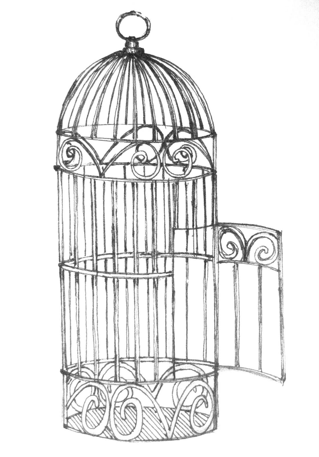 Antique bird cage drawing - photo#39
