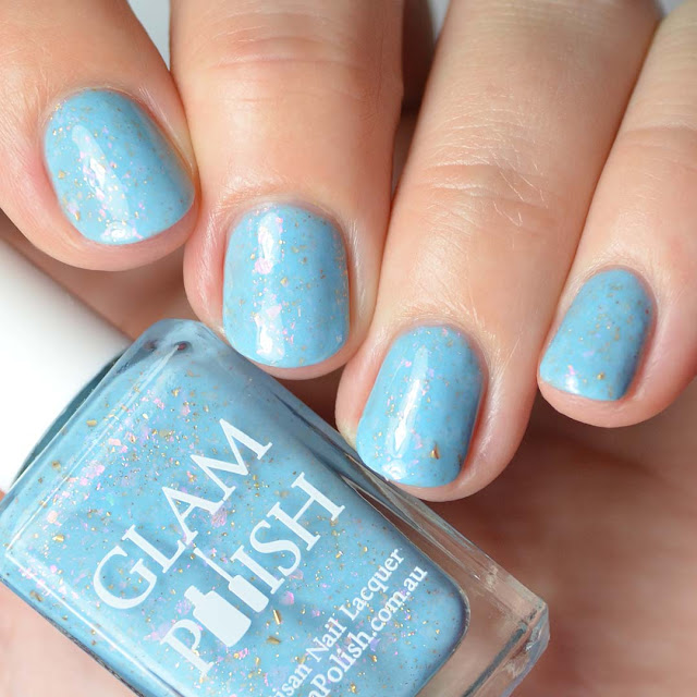 blue nail polish with color shifting flakies