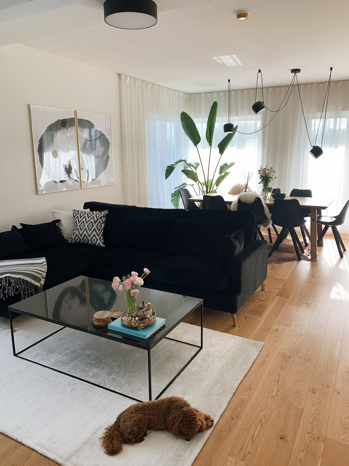 black white minimalist living room interior