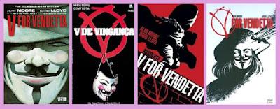 portadas del cómic distópico V de vendetta, de Alan Moore y David Lloyd