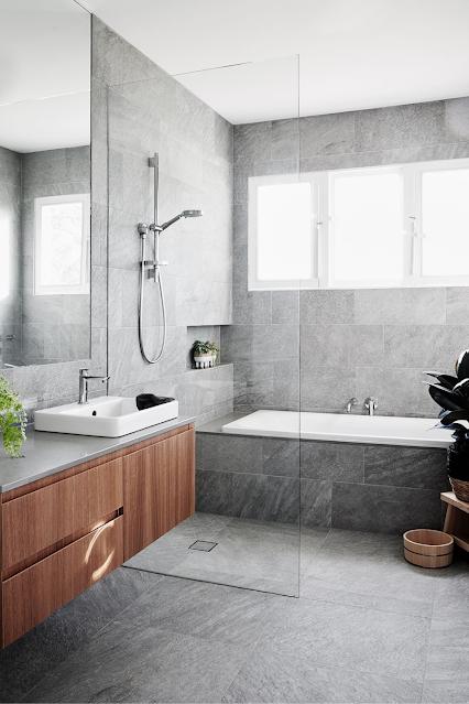 banheiro moderno cinza industrial sob medida