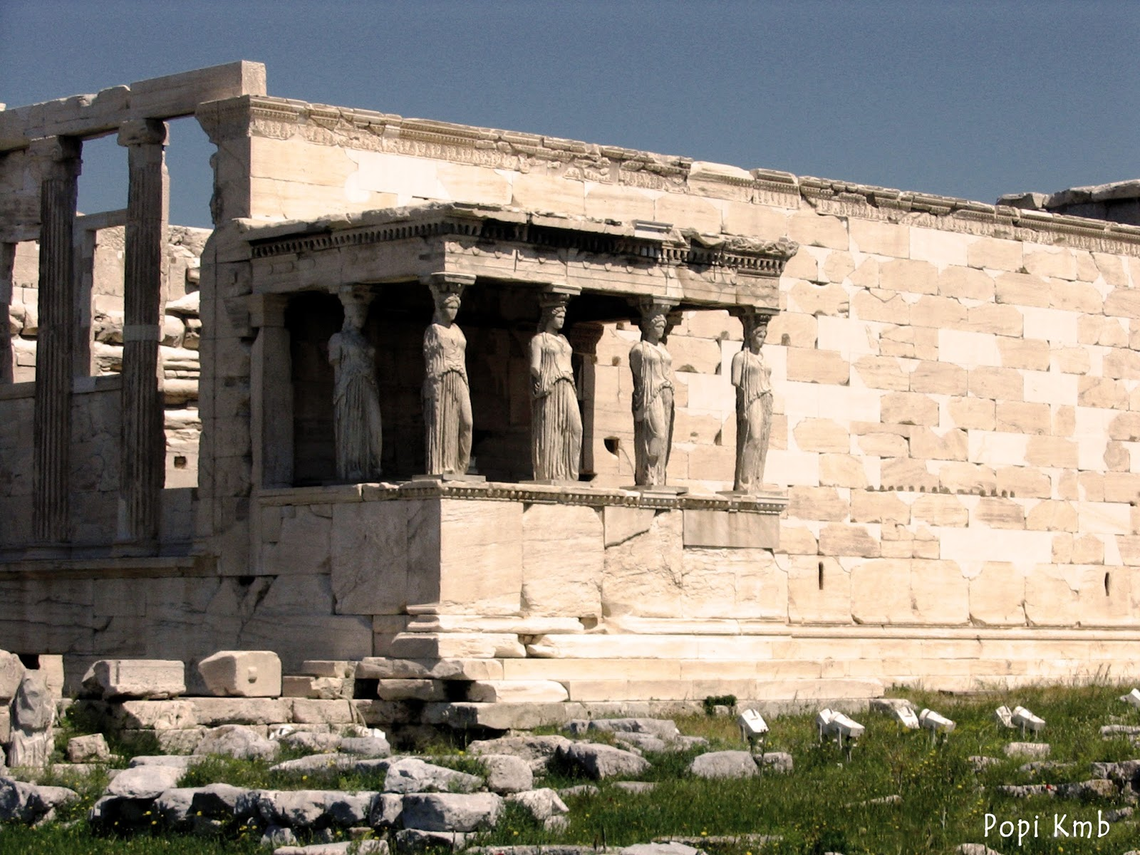 the caryatids on the erechtheion of The erechtheion is a temple on the acropolis built in the ionic order, and included the porch of the caryatids, 5 of which can be seen in the acropolis museum.