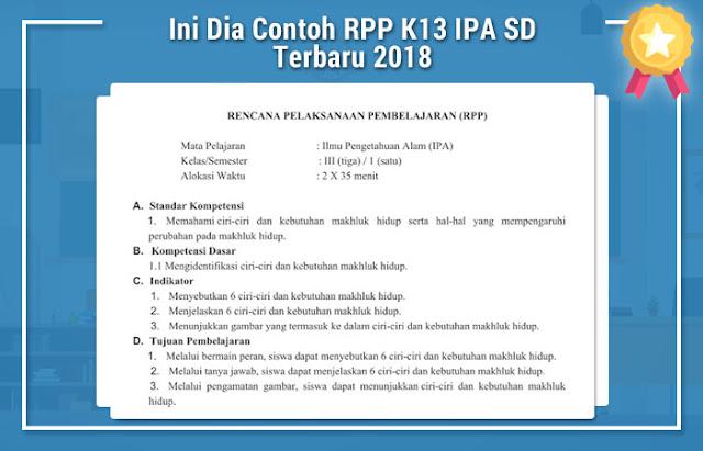 Ini Dia Contoh RPP K13 IPA SD Terbaru 2018