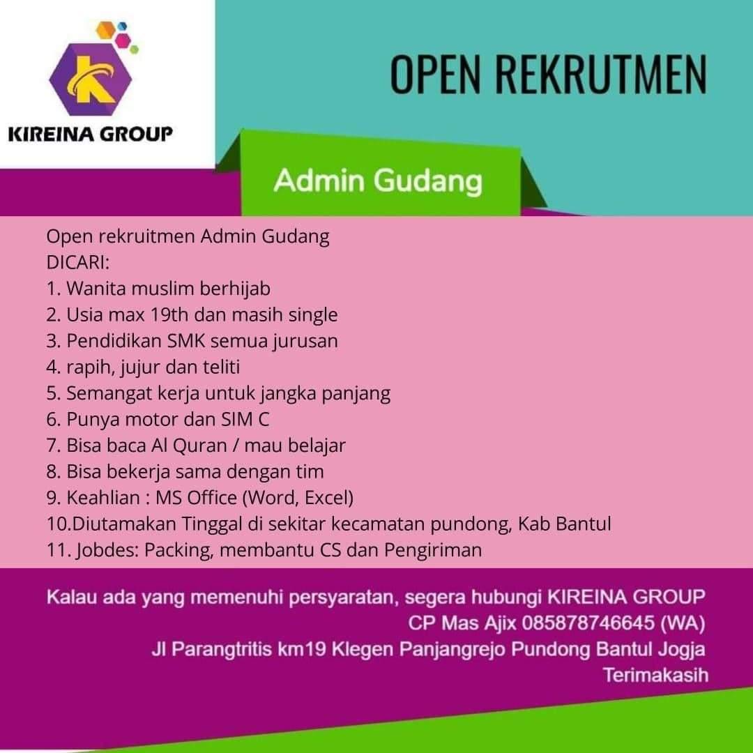 Kireina Group Bantul Open Rekrutment Admin Gudang